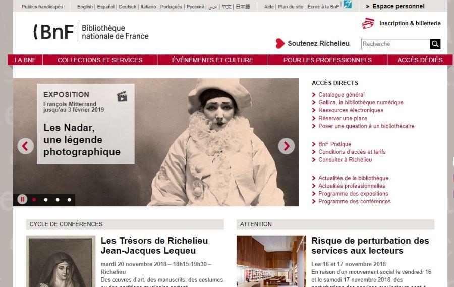 capture de la page d'accueil du site de la BNF