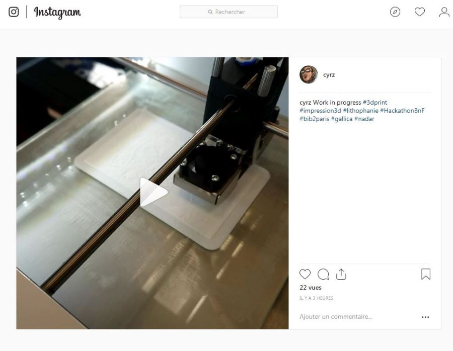 photo instagram de l'impression 3d