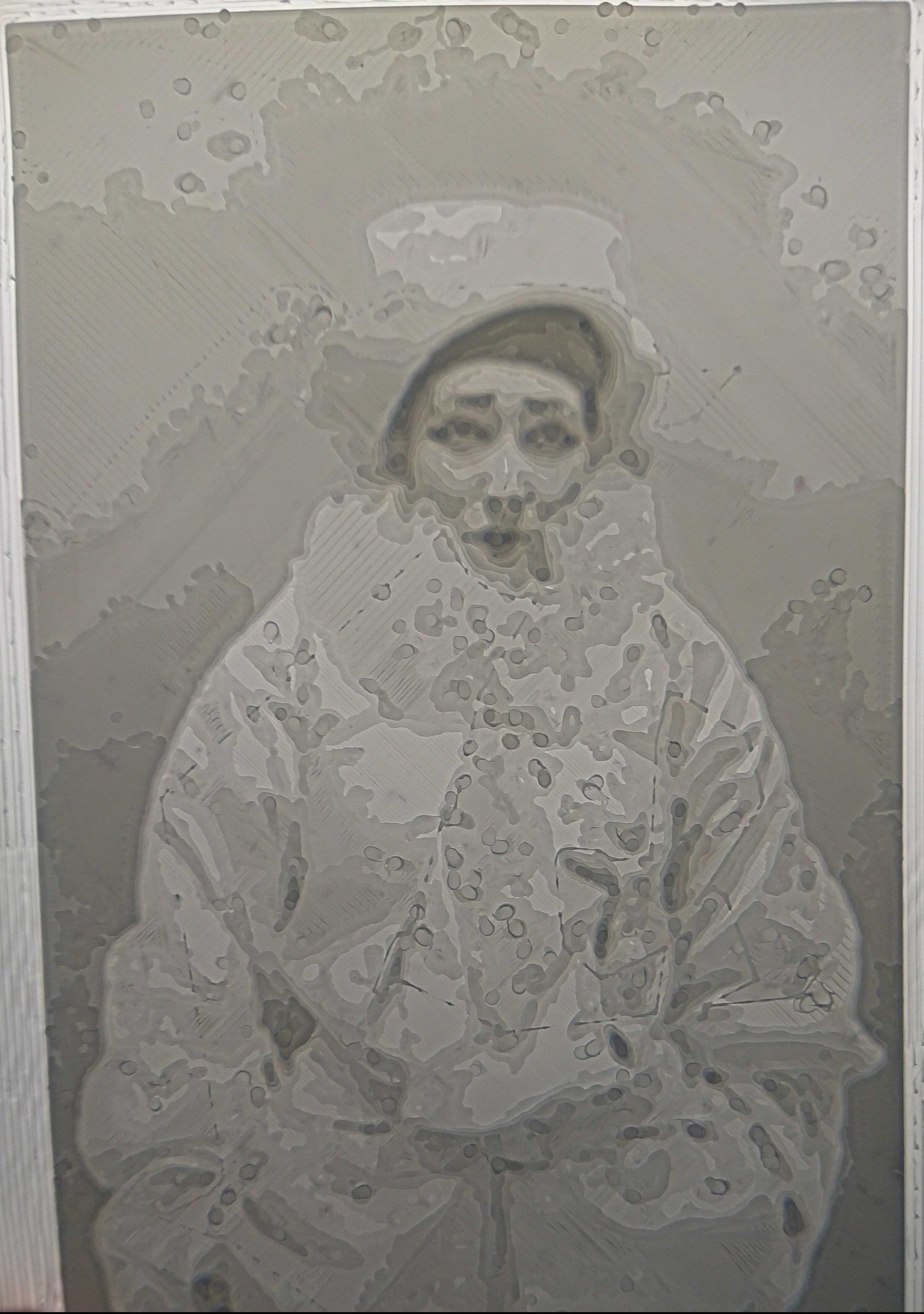 lithophanie du portrait de Sarah Bernardt